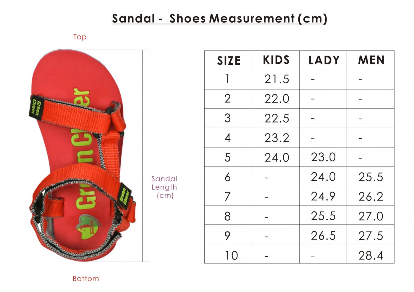 website - size measurement sandal 2